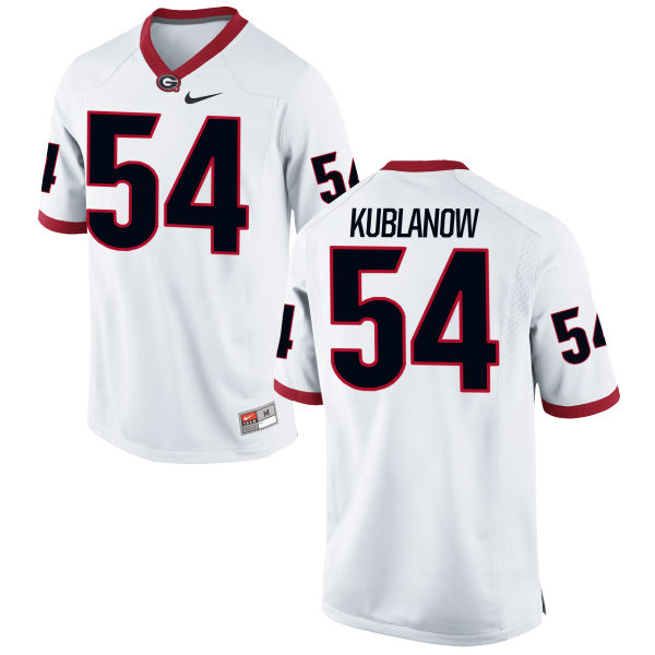 Men's Nike Brandon Kublanow Georgia Bulldogs Authentic White Football Jersey