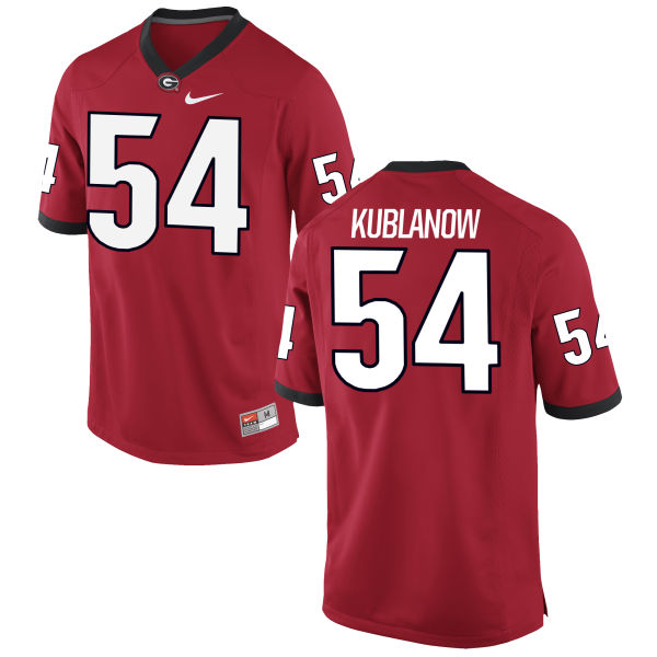 Men's Nike Brandon Kublanow Georgia Bulldogs Game Red Football Jersey