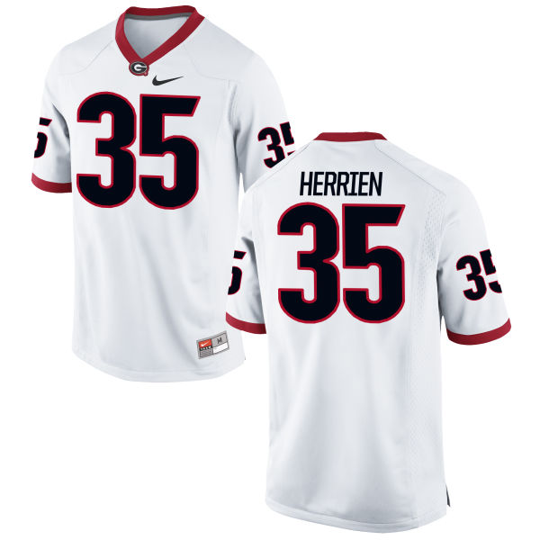 Men's Nike Brian Herrien Georgia Bulldogs Game White Football Jersey