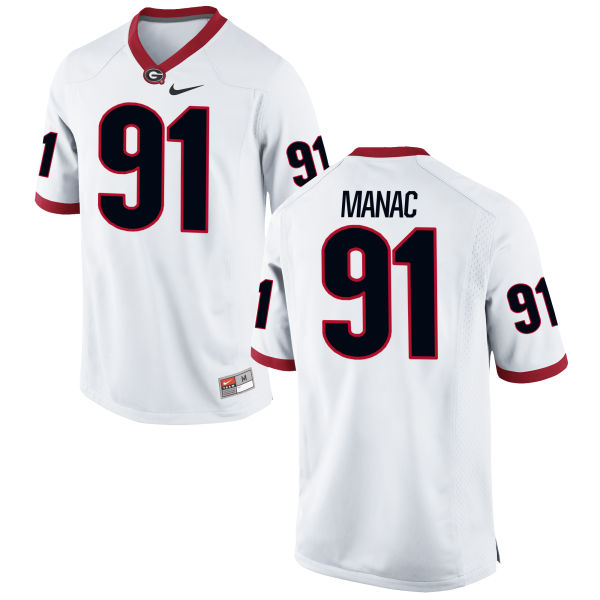 Men's Nike Chauncey Manac Georgia Bulldogs Game White Football Jersey