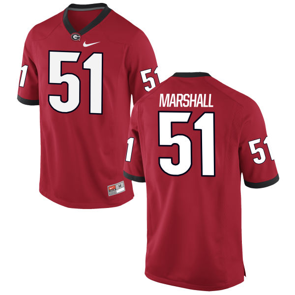 Men's Nike David Marshall Georgia Bulldogs Authentic Red Football Jersey