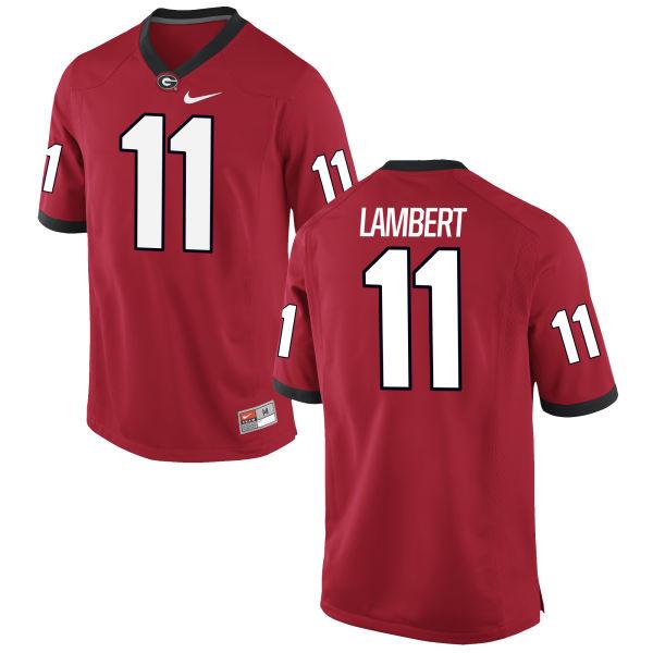 Men's Nike Greyson Lambert Georgia Bulldogs Authentic Grey Football Jersey Red