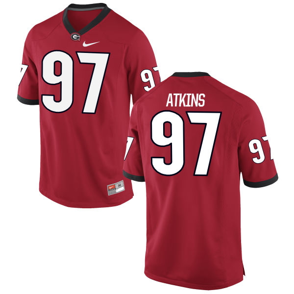 Men's Nike John Atkins Georgia Bulldogs Authentic Red Football Jersey