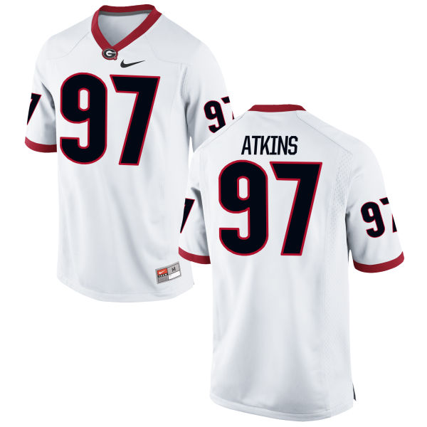 Men's Nike John Atkins Georgia Bulldogs Limited White Football Jersey