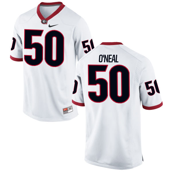 Men's Nike Johnny O'Neal Georgia Bulldogs Game White Football Jersey