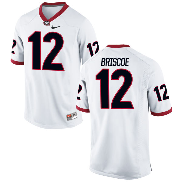 Men's Nike Juwuan Briscoe Georgia Bulldogs Game White Football Jersey