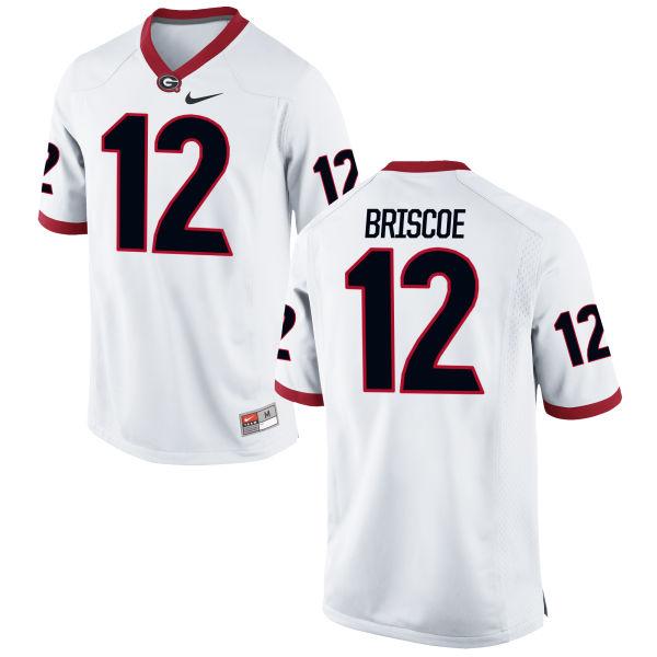 Men's Nike Juwuan Briscoe Georgia Bulldogs Limited White Football Jersey
