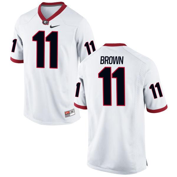 Men's Nike Keyon Brown Georgia Bulldogs Authentic White Football Jersey