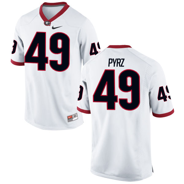 Men's Nike Koby Pyrz Georgia Bulldogs Game White Football Jersey