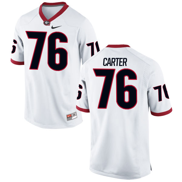 Men's Nike Michail Carter Georgia Bulldogs Game White Football Jersey