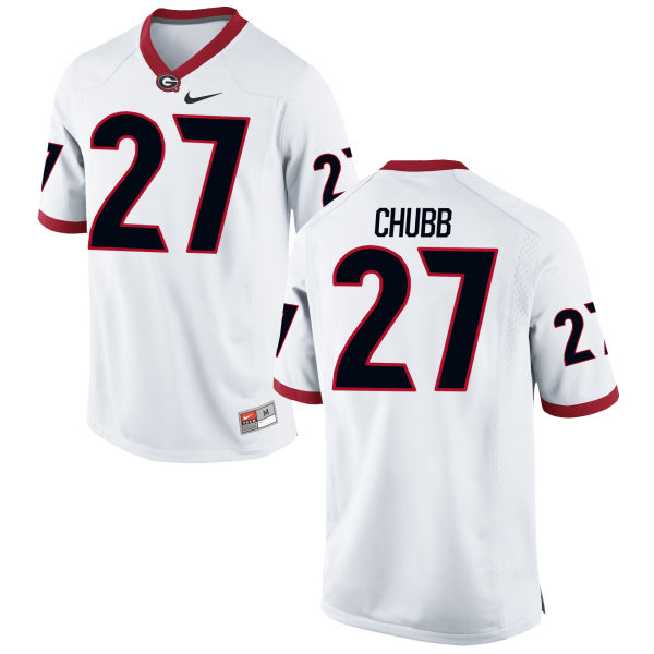 Men's Nike Nick Chubb Georgia Bulldogs Authentic White Football Jersey