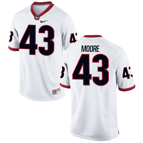 Men's Nike Nick Moore Georgia Bulldogs Game White Football Jersey