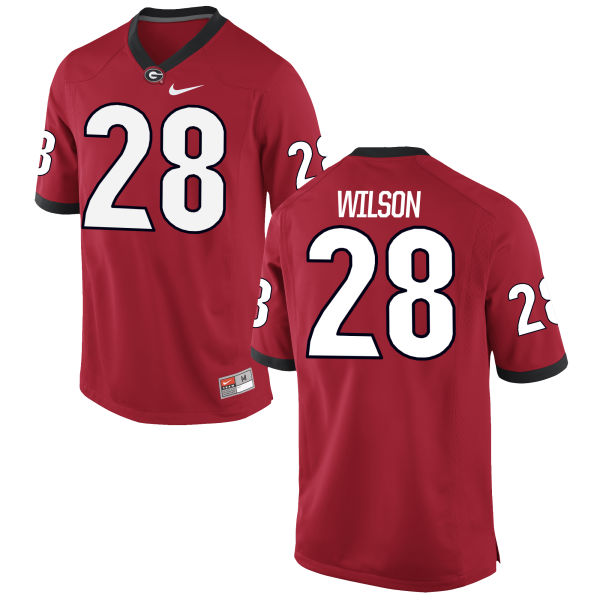 Men's Nike Shaquery Wilson Georgia Bulldogs Authentic Red Football Jersey
