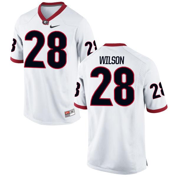 Men's Nike Shaquery Wilson Georgia Bulldogs Game White Football Jersey
