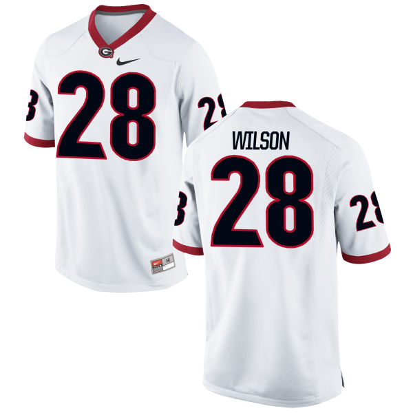 Youth Nike Shaquery Wilson Georgia Bulldogs Authentic White Football Jersey