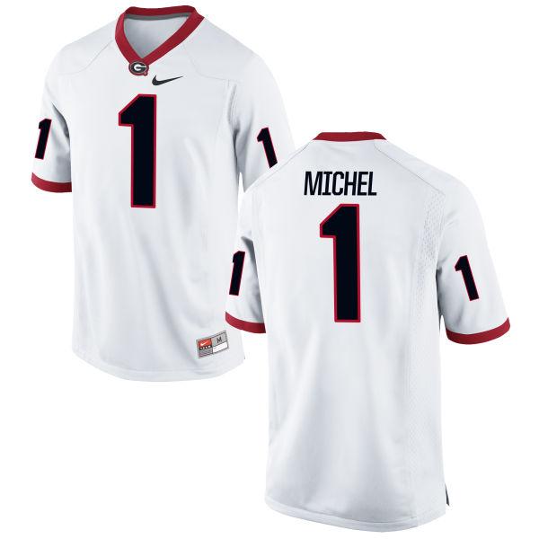 Men's Nike Sony Michel Georgia Bulldogs Game White Football Jersey