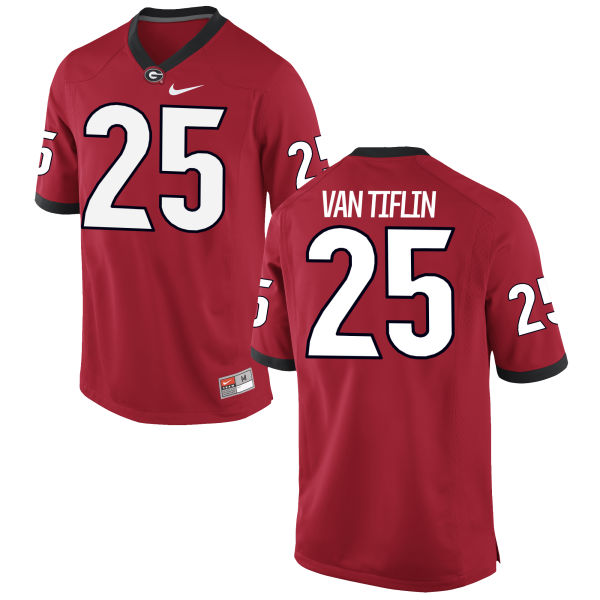 Men's Nike Steven Van Tiflin Georgia Bulldogs Game Red Football Jersey