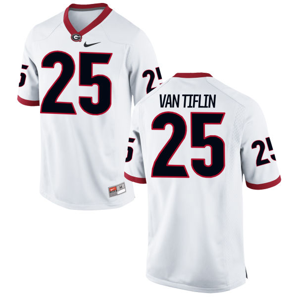 Men's Nike Steven Van Tiflin Georgia Bulldogs Game White Football Jersey