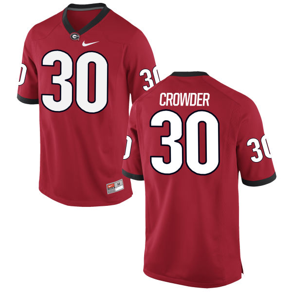 Men's Nike Tae Crowder Georgia Bulldogs Authentic Red Football Jersey