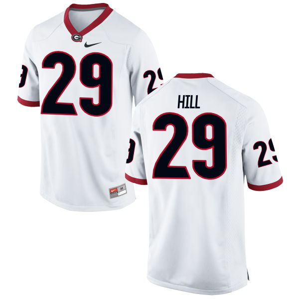 Men's Nike Tim Hill Georgia Bulldogs Game White Football Jersey