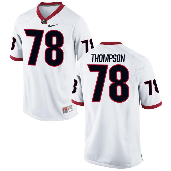 Men's Nike Trenton Thompson Georgia Bulldogs Authentic White Football Jersey