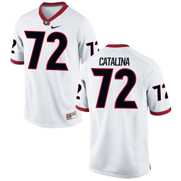 Men's Nike Tyler Catalina Georgia Bulldogs Limited White Football Jersey