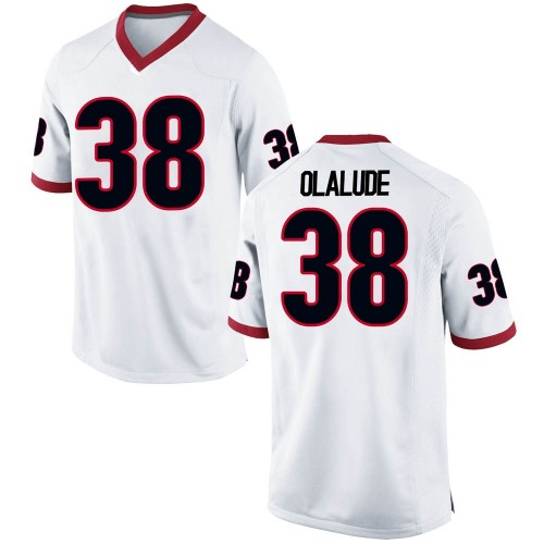 Men's Nike Aaron Olalude Georgia Bulldogs Game White Football College Jersey