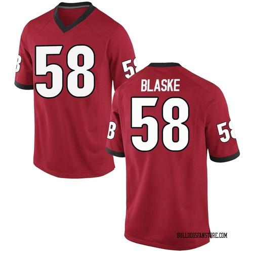 Men's Nike Austin Blaske Georgia Bulldogs Game Red Football College Jersey