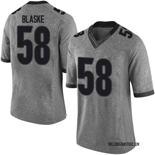 Men's Nike Austin Blaske Georgia Bulldogs Limited Gray Football College Jersey