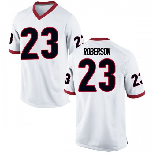 Men's Nike Caleeb Roberson Georgia Bulldogs Game White Football College Jersey