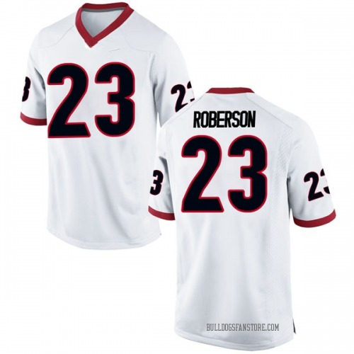Men's Nike Caleeb Roberson Georgia Bulldogs Replica White Football College Jersey