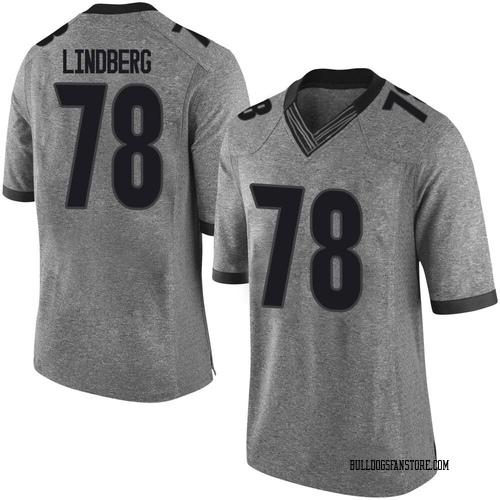 Men's Nike Chad Lindberg Georgia Bulldogs Limited Gray Football College Jersey