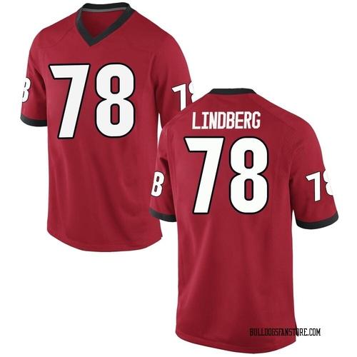 Men's Nike Chad Lindberg Georgia Bulldogs Replica Red Football College Jersey