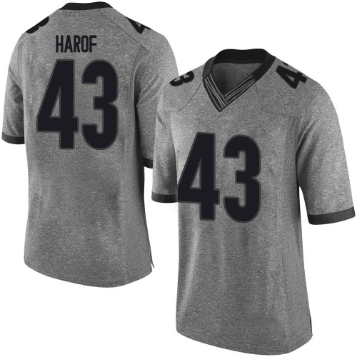 Men's Nike Chase Harof Georgia Bulldogs Limited Gray Football College Jersey