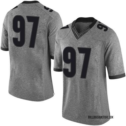Men's Nike Chris Barnes Georgia Bulldogs Limited Gray Football College Jersey