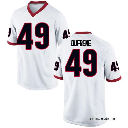 Men's Nike Christian Dufrene Georgia Bulldogs Replica White Football College Jersey