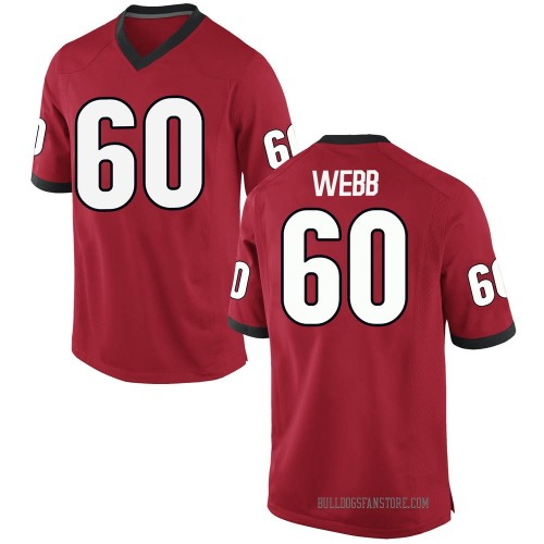 Men's Nike Clay Webb Georgia Bulldogs Game Red Football College Jersey