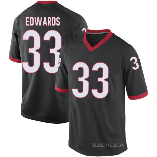 Men's Nike Daijun Edwards Georgia Bulldogs Game Black Football College Jersey