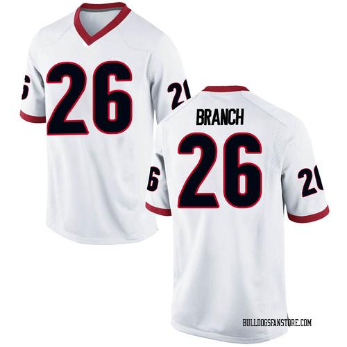 Men's Nike Daran Branch Georgia Bulldogs Game White Football College Jersey