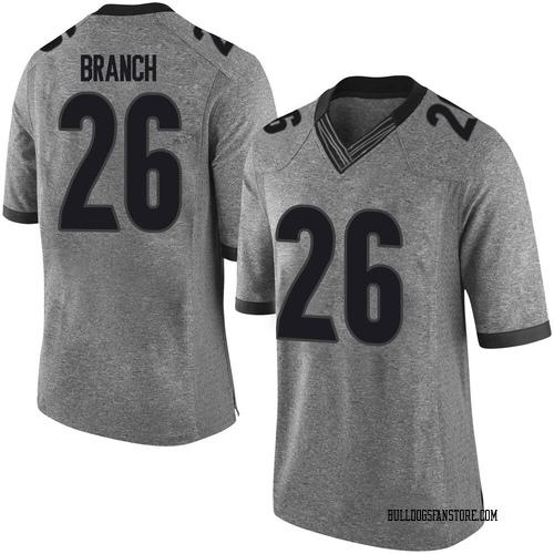 Men's Nike Daran Branch Georgia Bulldogs Limited Gray Football College Jersey