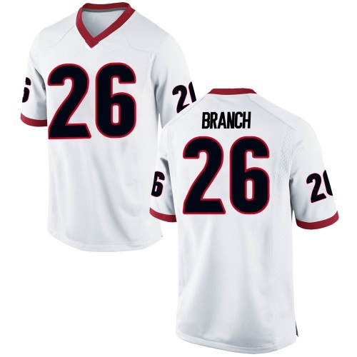 Men's Nike Daran Branch Georgia Bulldogs Replica White Football College Jersey