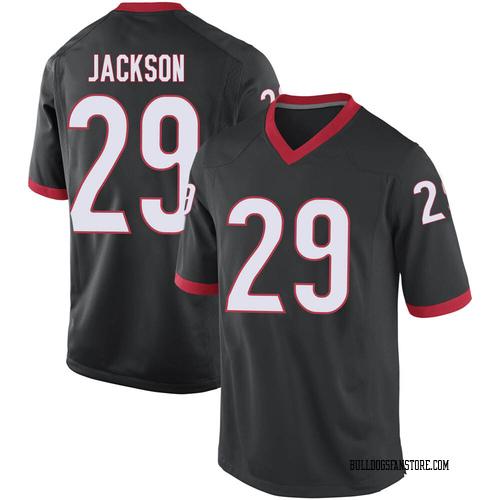 Men's Nike Darius Jackson Georgia Bulldogs Game Black Football College Jersey