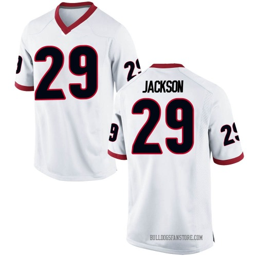 Men's Nike Darius Jackson Georgia Bulldogs Replica White Football College Jersey