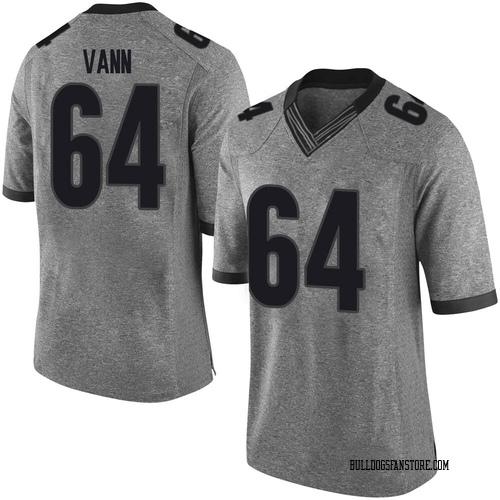 Men's Nike David Vann Georgia Bulldogs Limited Gray Football College Jersey
