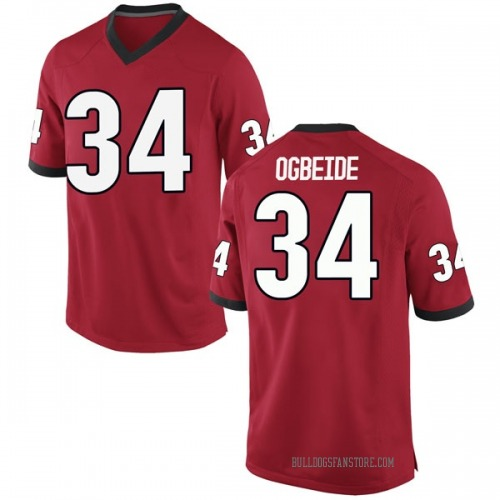 Men's Nike Derek Ogbeide Georgia Bulldogs Game Red Football College Jersey