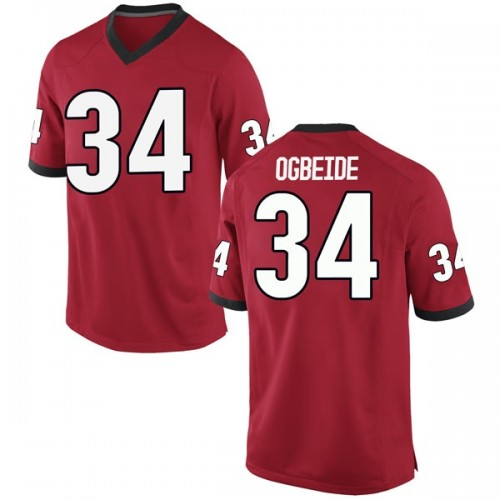 Men's Nike Derek Ogbeide Georgia Bulldogs Replica Red Football College Jersey