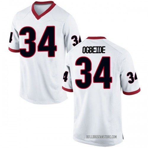 Men's Nike Derek Ogbeide Georgia Bulldogs Replica White Football College Jersey