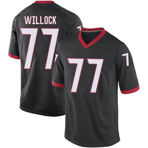 Men's Nike Devin Willock Georgia Bulldogs Game Black Football College Jersey