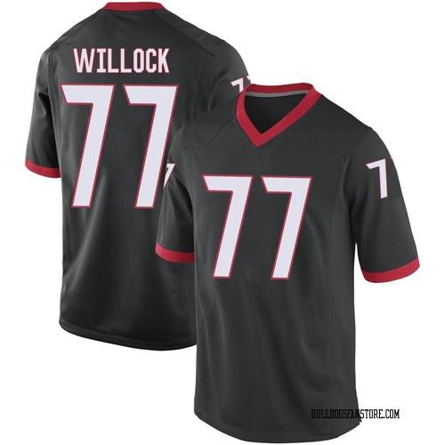 Men's Nike Devin Willock Georgia Bulldogs Replica Black Football College Jersey