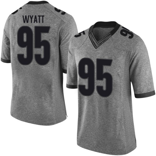 Men's Nike Devonte Wyatt Georgia Bulldogs Limited Gray Football College Jersey